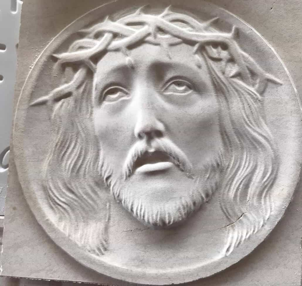 Christ relief in marble CNC Stone router